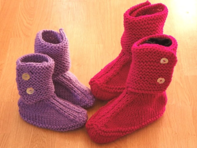 Slouch Slippers Knitting Pattern House Boots Slippers House Etsy