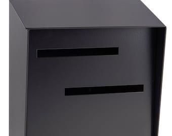 Mid Century Modern Mailbox | Monochromatic Black | Vertical Large