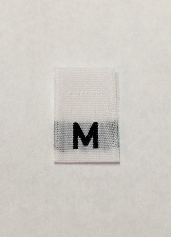 500Pcs Black Woven Clothing Size Tab Labels Made In U.S.A SIZE M Medium