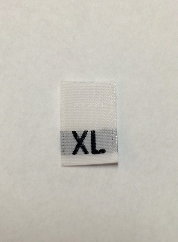 SIZE TAGS 2XL 50 PCS WOVEN CLOTHING LABELS WHITE