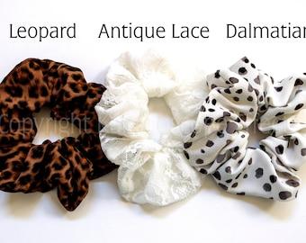 Large scrunchies featuring Leopard Print, Antique Lace, and Dalmatian Spots