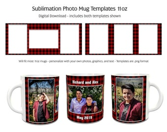 Sublimation Photo Mug Templates - Buffalo Plaid Red - 2 Variations Included - 11oz size