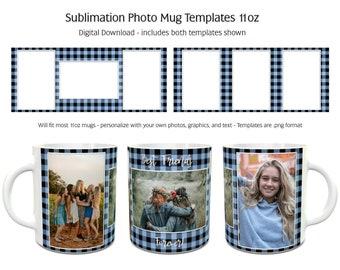 Sublimation Photo Mug Templates - Buffalo Plaid Blue - 2 Variations Included - 11oz size