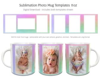Sublimation Photo Mug Templates - Rainbow1 - 2 Variations Included - 11oz size