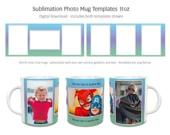 Sublimation Photo Mug Templates - Rainbow3 - 2 Variations Included - 11oz size