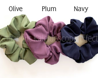 Large Scrunchies in Jewel Tones: Olive, Plum and Navy