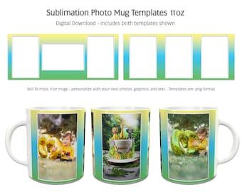 Sublimation Photo Mug Templates - Rainbow2 - 2 Variations Included - 11oz size