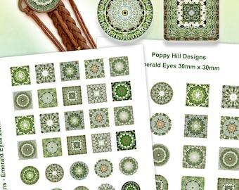 Emerald Eyes Kaleidoscope Collage Sheet