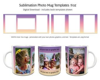 Sublimation Photo Mug Templates - Rainbow4 - 2 Variations Included - 11oz size