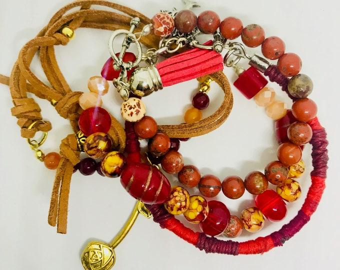 The BoHo Red Bundle Bracelets