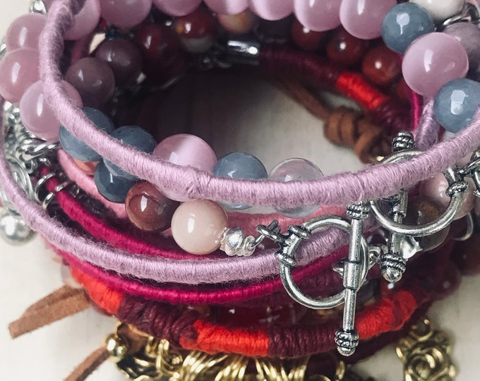 Pink And Red Beads & Bangles Bracelets