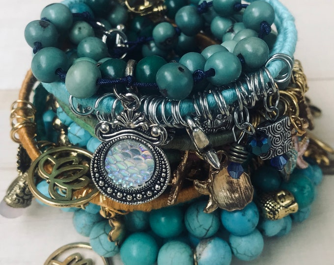 Teal And Turquoise Beads & Bangles Bracelets