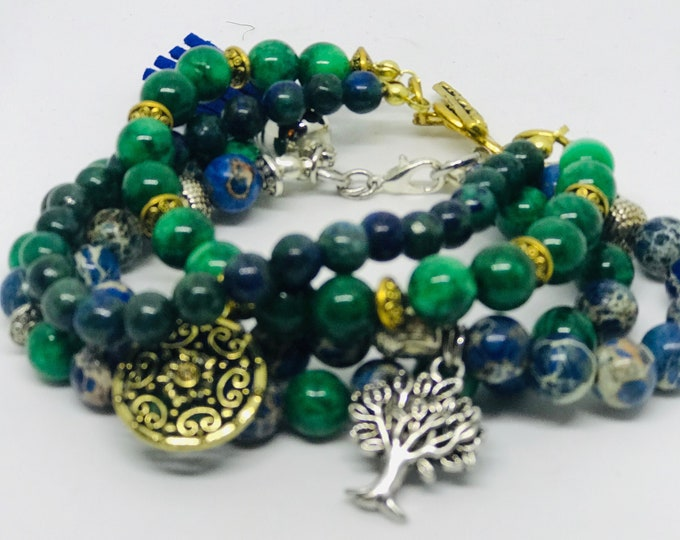 The BoHo Green/Blue Bundle Bracelets