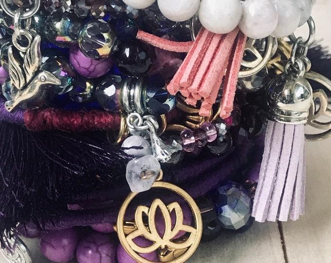 Purple Beads & Bangles Bracelets