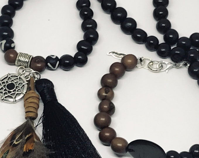 Black Feather Beaded Necklace With Bracelet