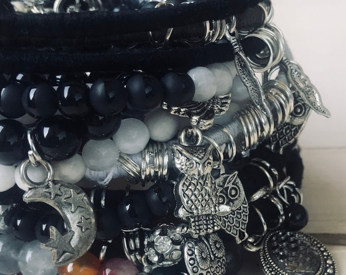 Black And Gray Beads & Bangles Breacelets