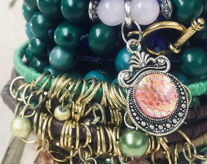 Green Beads & Bangles Bracelets