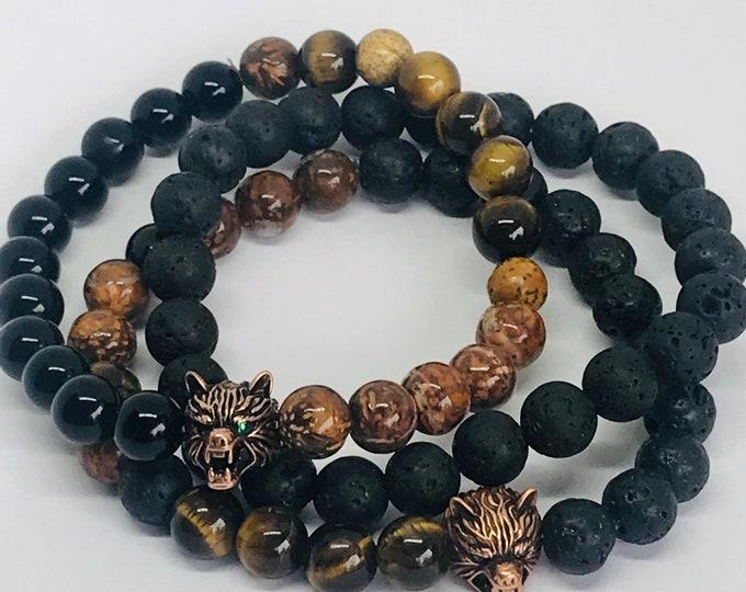 Wild Wolf Beaded Bracelet Men's