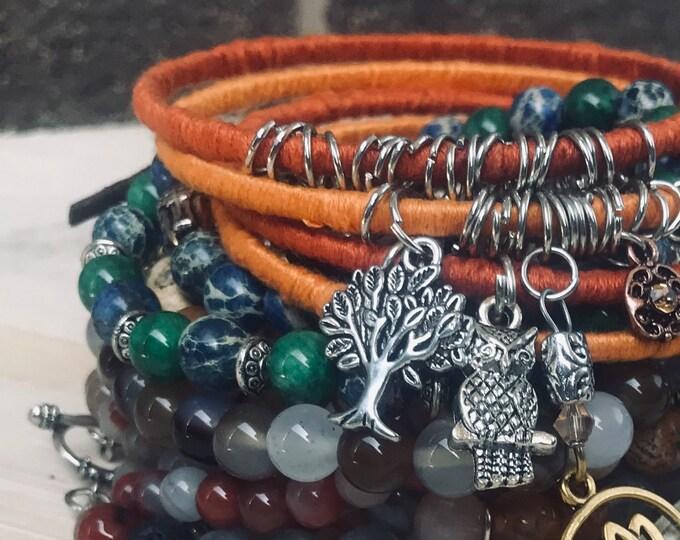 Orange & Brown Beads N Bangles Bracelets