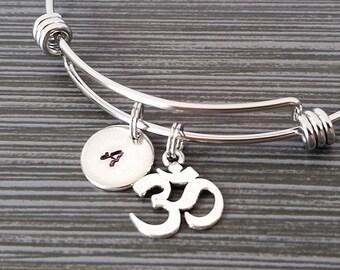 Om Bangle - Ohm Bracelet - Expandable Bangle - Charm Bangle - Om Bracelet - Best Friend Bracelet - Meditation Bangle - Yoga Bracelet