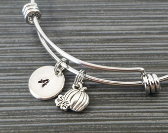 Pumpkin Bracelet Bangle - Food Charm Bracelet - Expandable Bangle - Charm Bangle - Pumpkin Bangle - Initial Bracelet - Best Friend Bracelet