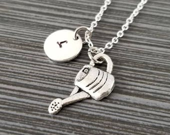 Watering Can Necklace - Gardener Necklace - Personalized Necklace - Custom Initial Necklace - Gift for Gardeners - Gardener Gift
