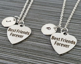 Two Best Friends Forever Necklaces - BFF Necklace - Personalized Necklace - Custom Initial Necklace - Friendship Necklace - Best Friend Gift