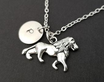 Beauty Gift Terrestrial Organism Wild Animal Lion Necklaces Pendant Retro Moon Stars Jewelry