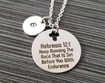 Hebrews 12:1 Necklace - Race With Endurance Necklace - Religious Necklace - Cross Necklace - Christian Necklace Bible Verse Necklace