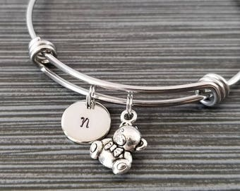 Teddy Bear Bangle - Teddy Bear Charm Bracelet - Expandable Bangle - Charm Bangle - Teddy Bear Bracelet - Initial Personalized Bracelet