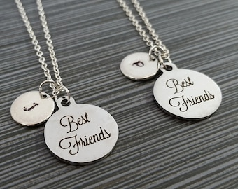 Two Best Friend Necklaces - BFF Necklace - Personalized Necklace - Custom Initial Necklace - Friendship Necklace - Best Friend Gift