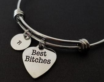 f578f1b4853a55 Best Bitches Bangle - Best Friend Charm Bracelet - Expandable Bracelet  Initial Bracelet - Best Friend Bracelet Friendship Bracelet BFF