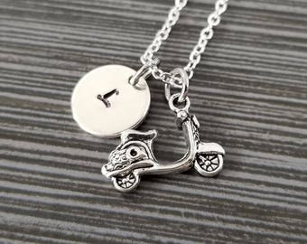Scooter Necklace - Vespa Charm Necklace - Personalized Necklace - Custom Gift - Initial Necklace - Moped Necklace - Motor Bike Necklace