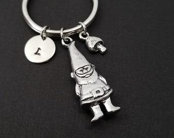 Garden Gnome Keychain - Custom Gift - Silver Keychain - Gift for Mom -  Gardener Gift - Gnome Keychain - Initial Keychain 0000ee19f8