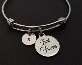 Best Friends Bangle - Best Friend Charm Bracelet - Expandable Bracelet - Initial Bracelet - Best Friend Bracelet - Friendship Bracelet BFF