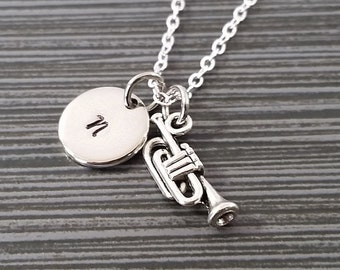 Silver Trumpet Necklace - Band Student Necklace - Personalized Necklace - Musician Gift - Initial Necklace - Musical Instrument Jewelry