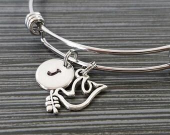 Dove Bangle - Dove Charm Bracelet - Expandable Bangle - Charm Bangle - Peace Dove Bracelet - Custom Initial Bracelet - Peace Bracelet