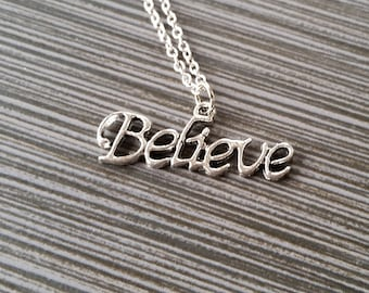 Silver Believe Necklace - Inspirational Jewelry - Personalized Necklace - Custom Gift - Inspirational Jewelry - Believe Message Necklace