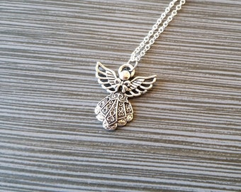 Silver Angel Necklace - Charm Necklace - Personalized Necklace - Custom Gift - Initial Necklace - Christmas Necklace - Mommy Baby Jewelry