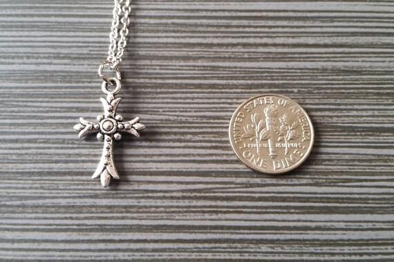 antiguos Plateado Aleación Estrás Cruz Colgante Collar De Cadena Encanto 2 un