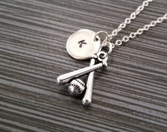 Silver Baseball Necklace - Baseball Bat Necklace - Personalized Necklace - Custom Initial Necklace - Softball Necklace - Sports Necklace
