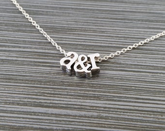 Silver Initial Necklace - Initial Ampersand Necklace - Personalized Necklace - Letter Necklace - Layering Necklace - Girlfriend Necklace