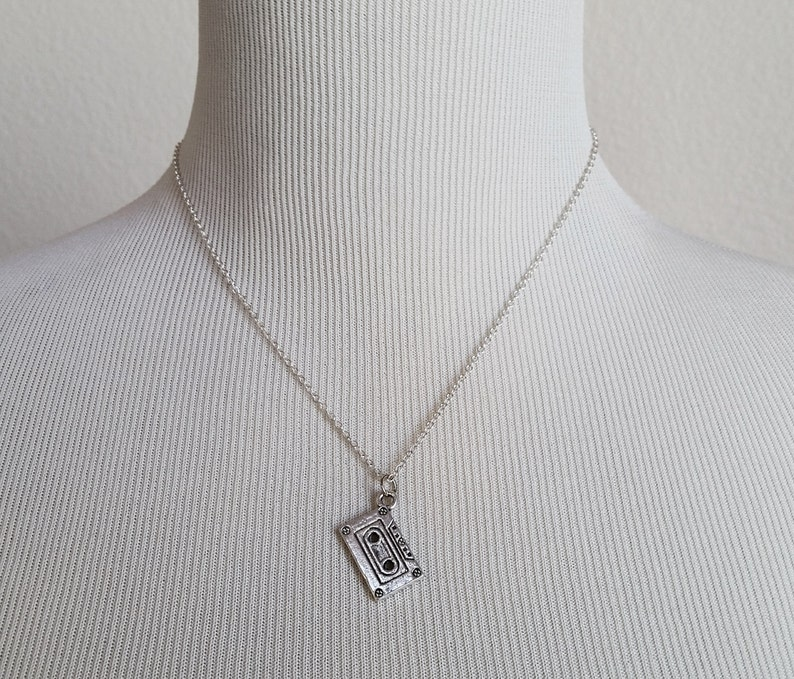 Custom Initial Necklace Cassette Tape Charm Necklace 90s Necklace Silver Mix Tape Necklace Music Necklace Personalized Necklace