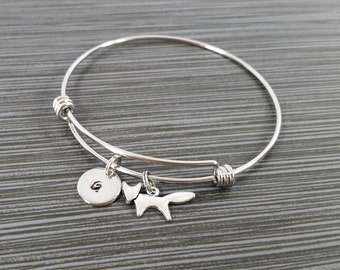 Fox Bangle - Fox Charm Bracelet - Expandable Bangle - Charm Bangle - Running Fox Bracelet- Initial Bracelet - Fox Bracelet