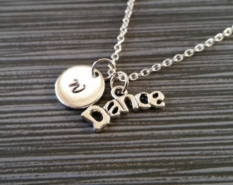 Dance Necklace - Inspirational Necklace - Personalized Necklace - Custom Gift - Initial Necklace - Dancer Necklace - Silver Necklace