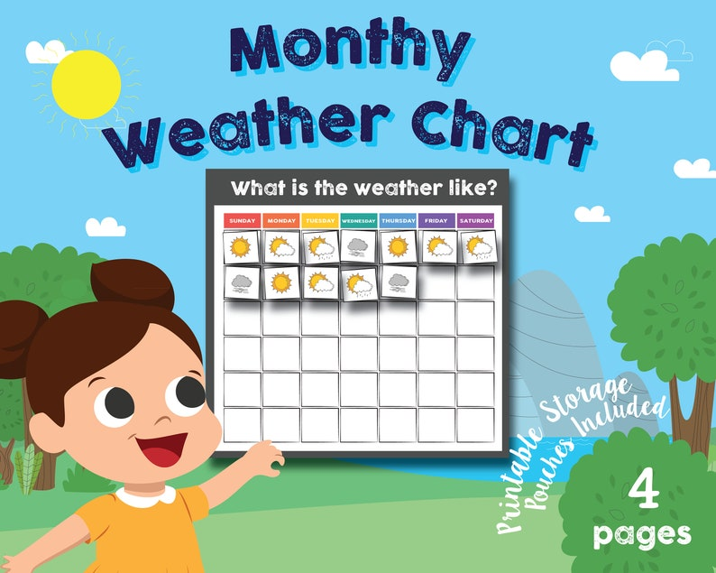 photograph regarding Weather Chart Printable titled Preschool - Kindergarten Day by day Temperature Chart, Math Chart, Printable Storage Pouches Incorporated, Recommendations Integrated