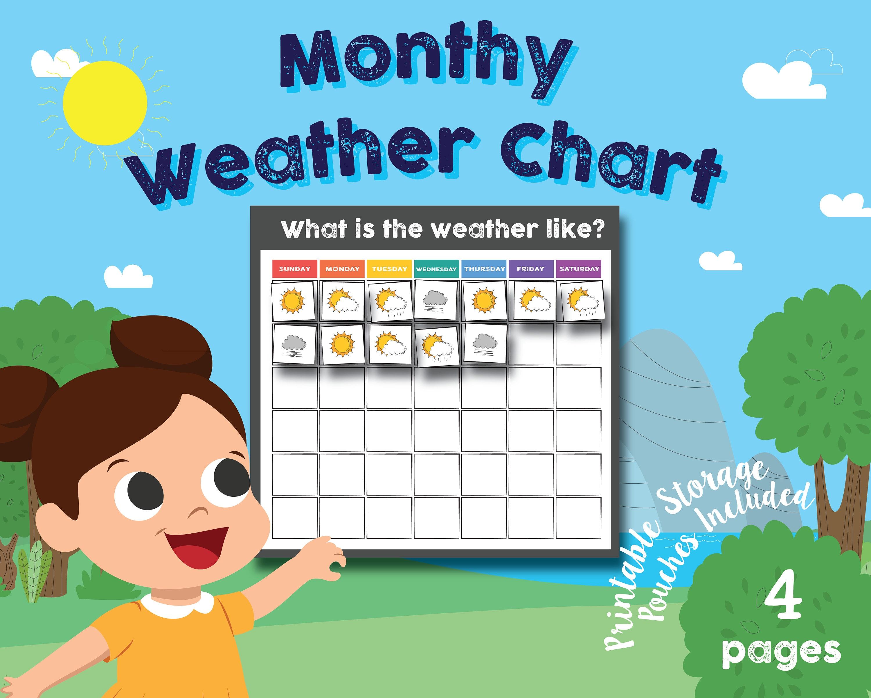 Preschool Kindergarten Daily Weather Chart Math Chart | Etsy