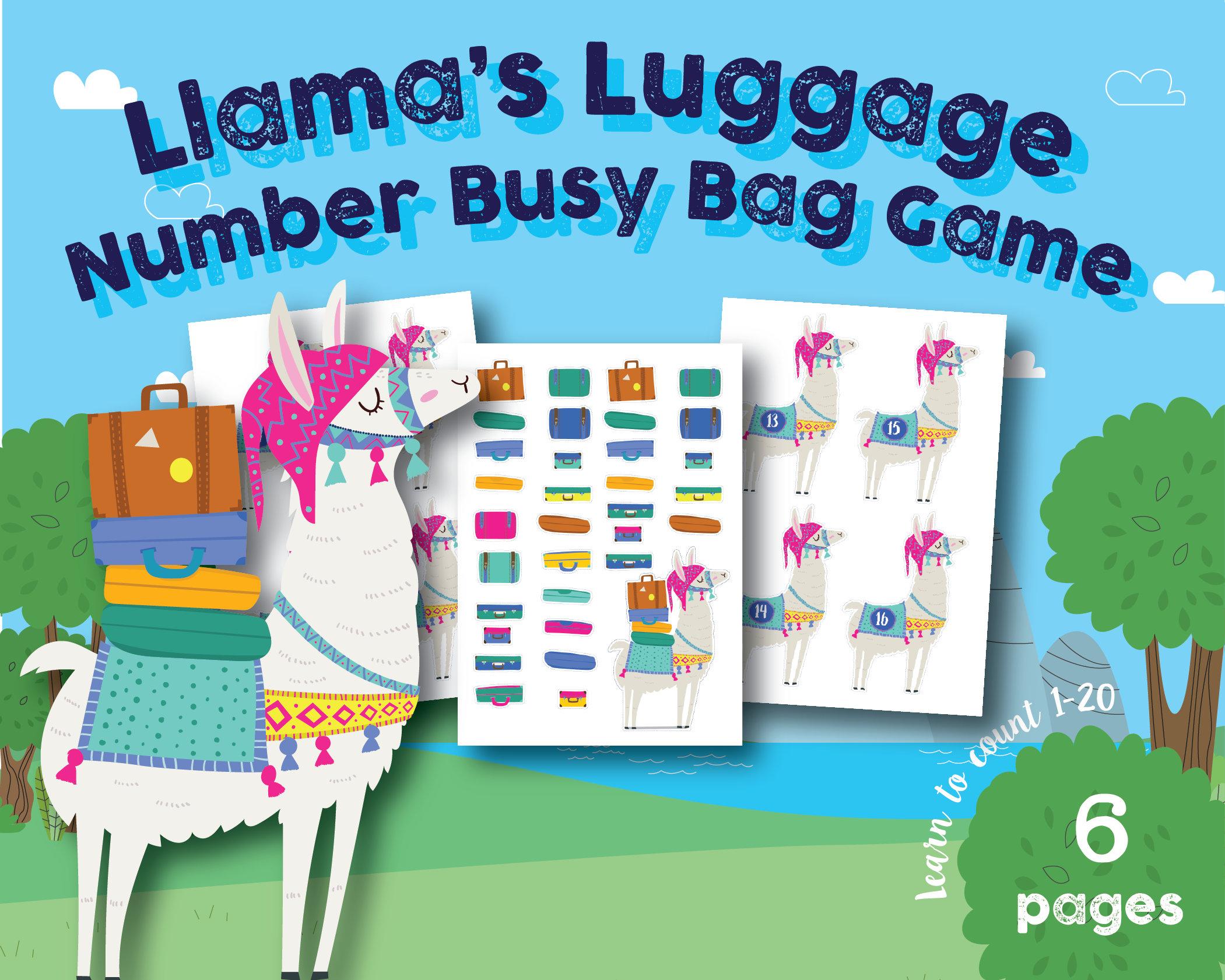 Llama Luggage Number Busy Bag Game Preschool Kindergarten | Etsy