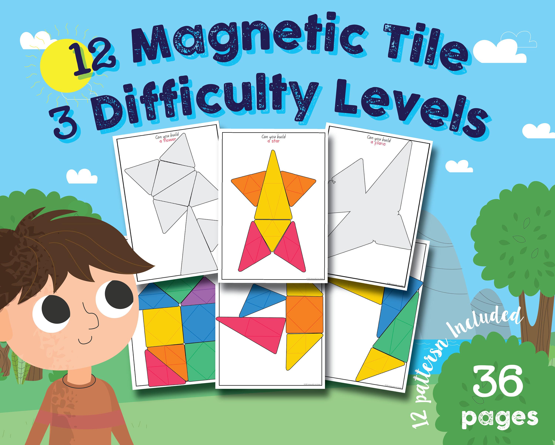 Set of 12 Magnetic Tile Patterns Math Patterns Magnatiles   Etsy