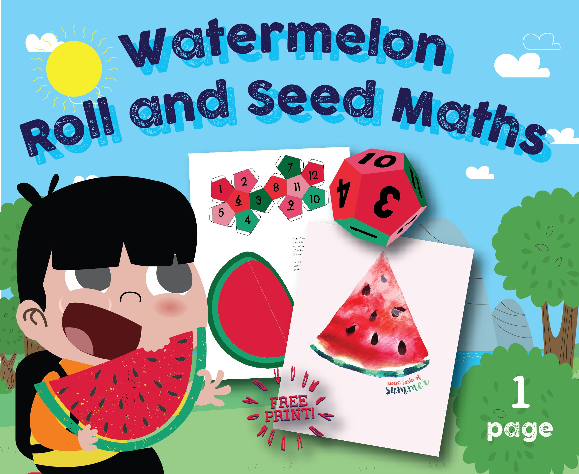 Watermelon Math Busy Bag Game Dice Roll and Seed Summer | Etsy